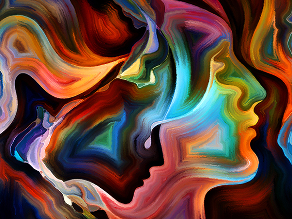 abstract painting of faces in swirling rainbow colors