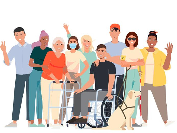 cartoon of a group of people with various disabilities